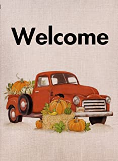 Selmad Welcome Pumpkin Red Truck Fall Garden Flag Double Sided Old Farm, Small Burlap Decorative House Yard Decoration, Au...