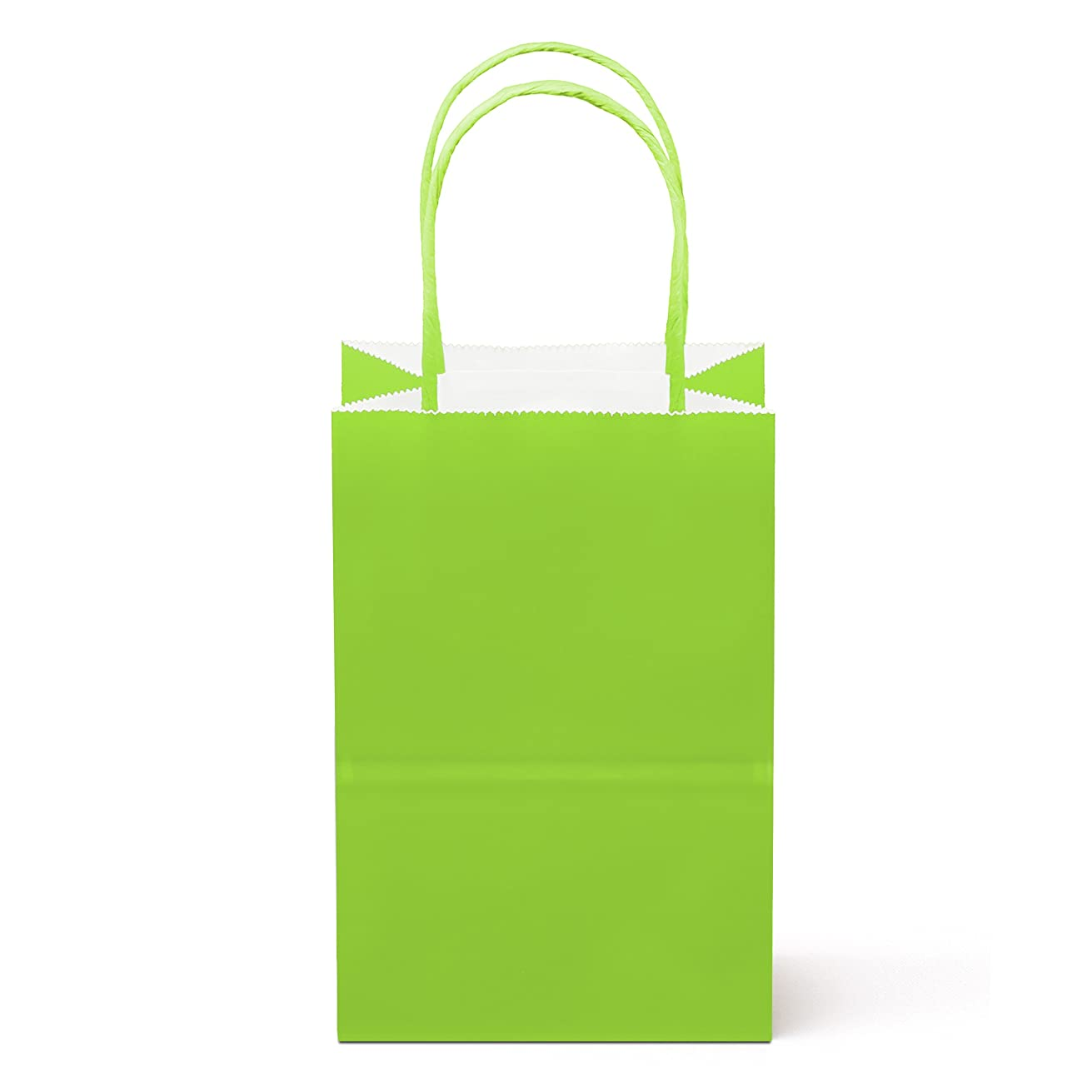 "8 Counts Food Safe Premium Paper and Ink Small 8.5"" X 5.25"", Vivid Colored Kraft Bag with Colored Sturdy Handle, Perfect for Goodie Favor DIY Bag, Environmentally Safe (Small, Lime Green)"