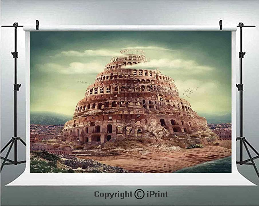 Bedroom Decor Photography Backdrops Tower Of Babel Clouds Ancient Civilization Historic Architecture Themed Artwork,Birthday Party Background Customized Microfiber Photo Studio Props,7x5ft,Green Beige