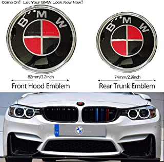 2pcs Carbon fiber BMW Red and Black Hood Emblem 82mm/Trunk Emblem 74mm, Emblems Replacement for BMW X3 X5 X6 3 4 5 6 7 8 Series 325i 328i E46 E30 E36 E34 E38 E39 E60 E65 E90