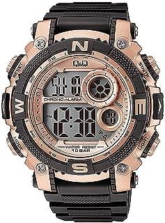 Q&Q Men's Grey Dial Silicone Band Watch - M133J005Y, Digital Display