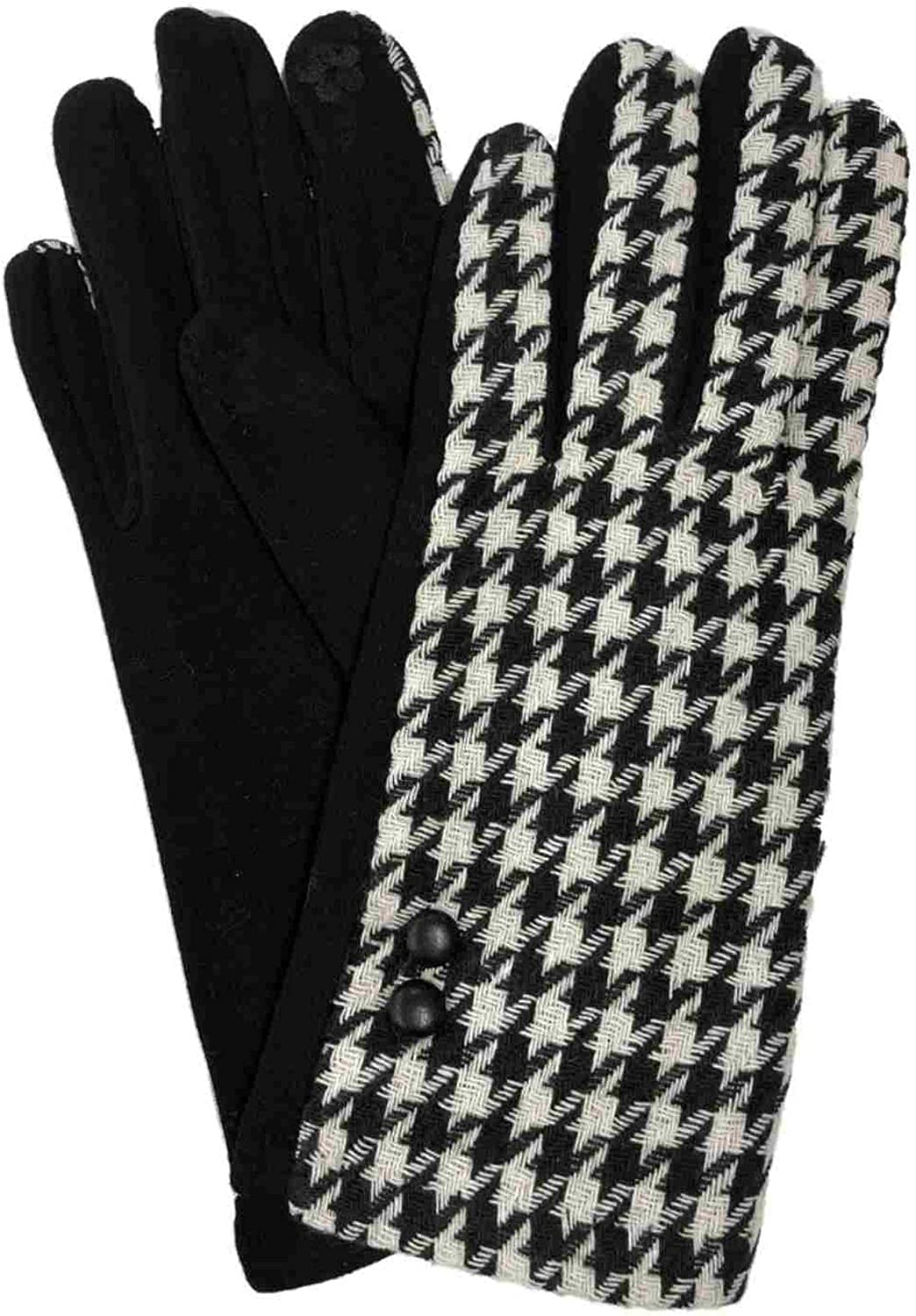 Womens Black & White Houndstooth Stretch Fit Texting & Tech Touchscreen Gloves