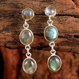 Orecchini pendenti in argento sterling con pietre preziose labradorite per donne e ragazze, orecchini pushback con castone...