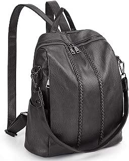 UTO Women Backpack Purse Vintage Weave PU Leather Convertible Ladies Rucksack Zipper Pocket Shoulder Bag Grey