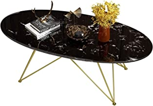 Living Room Furniture Metal Black Oval Marble Coffee Table - Living Room Wrought Iron Simple Gold Metal Base Side Table - ...