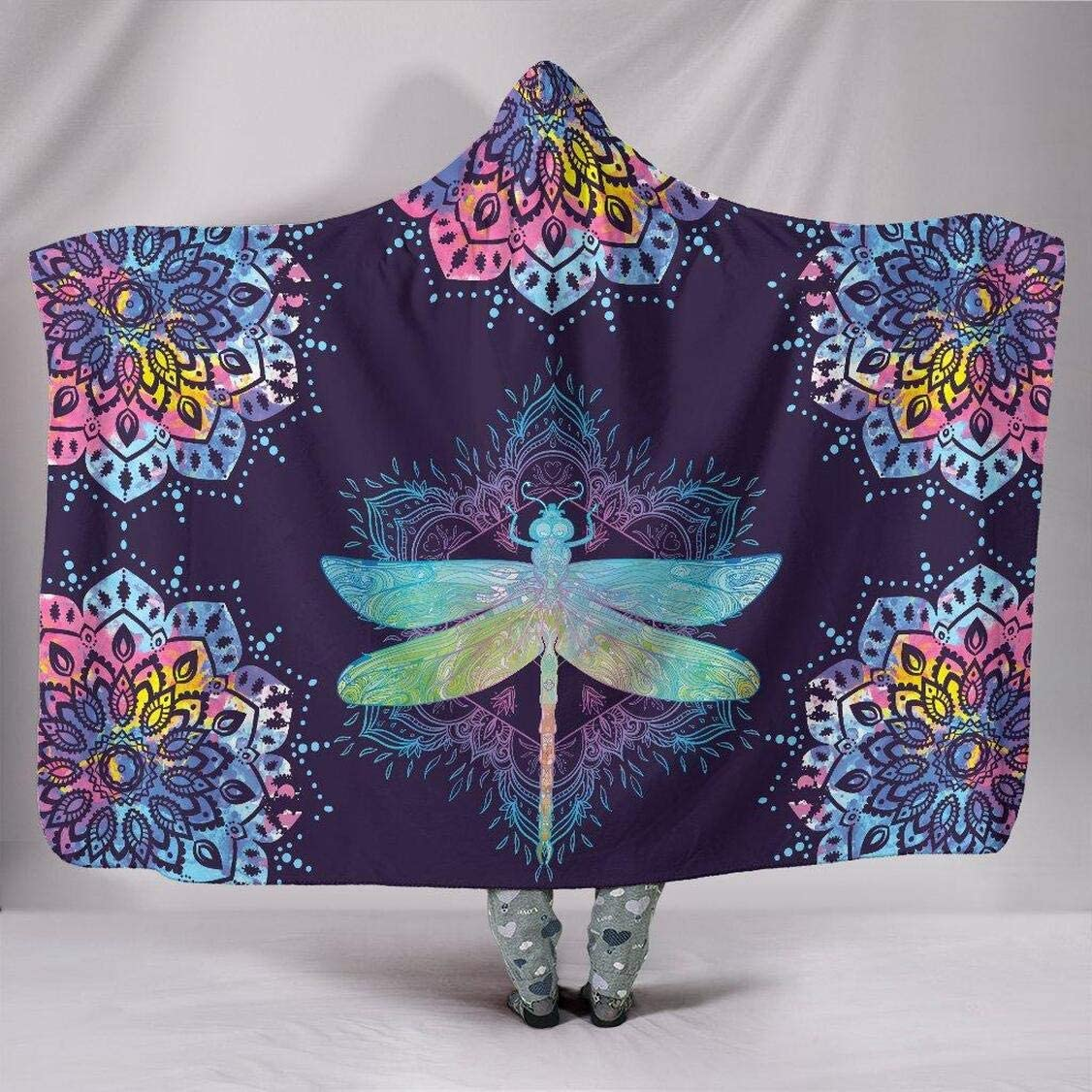Large-scale sale Personalized Dragonfly El Paso Mall Mandala Hoodie Wearable Blanket Soft Warm