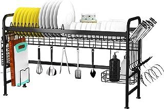 X-Cosrack Égouttoir à Vaisselle en Acier Inoxydable avec Crochets pour Cuisine Evier Étagère Rangement , Noir