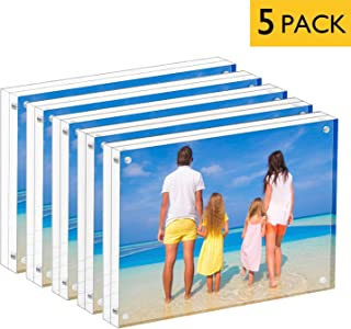 MeetU Acrylic 4x6 Picture Frame Two Sided Desk Photo Frame Magnetic Frame Inner Size 3x5 with Gift Pack for Display Family Pictures Baby Photos Friends Pictures or Pet Dog Picture