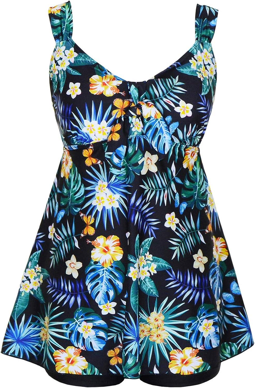DANIFY Women's Tankini Swimdress Plus Size Swimsuits for Women Tummy Control Swimwear Two Piece Bathing Suit