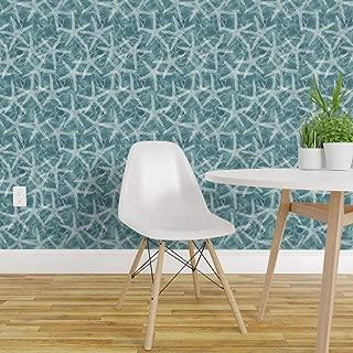 Spoonflower Peel and Stick Removable Wallpaper, Nautical Coral Ocean Caribbean Reef Tide Swim Print, Self-Adhesive Wallpaper 24in x 36in Roll
