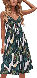 VOTEPRETTY Womens Summer Floral Sundress V Neck Tie Front Spaghetti Strap Dresses with Pockets