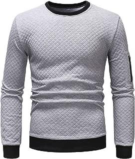 MogogoMen Long Sleeve O-Neck Solid Slim Fit Coat Plaid Tracksuit Top