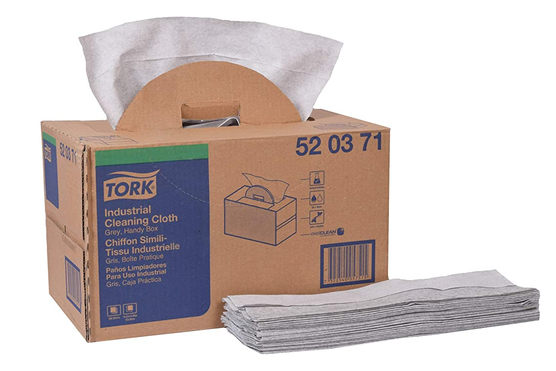 Tork 520371 Industrial Cleaning Cloth, Self-Dispensing Handy Box, 1-Ply, 15