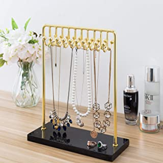 MyGift 20-Hook Modern Brass Plated Metal Necklace Jewelry Display Rack Stand with Black Marble Base