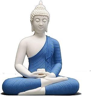 JJDSN Estatua de Buda Sentado Chino, Escultura de Shakyamuni de cerámica Hecha a Mano, Adorno clásico de estatuilla de Bud...