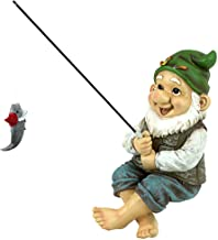 Design Toscano QM2806500 Garden Gnome Statue - Ziggy the Fishing Gnome Sitter - Outdoor Garden Gnomes - Funny Lawn Gnome S...