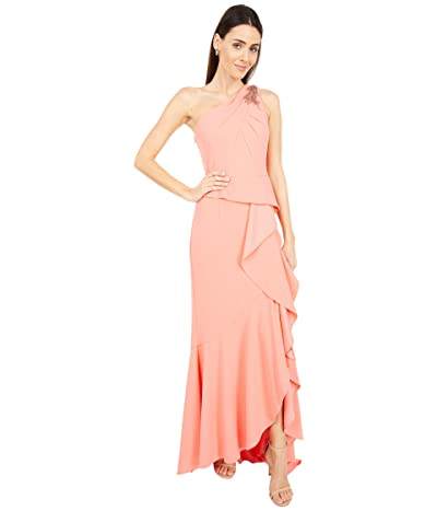 Adrianna Papell One Shoulder Pleated Crepe Gown with Beading Women