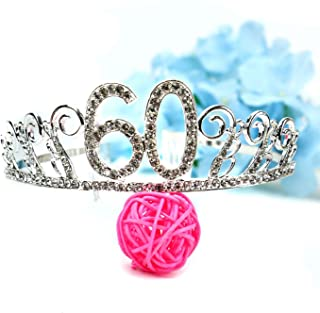 Pomeat Crystal Rhinestone Happy 60th Birthday Tiara Princess Crowns Silver