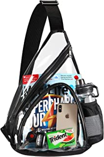 Clear PVC Sling Bag Stadium Approved, HULISEN Crossbody Backpack for Women & Men with Widened Adjustable Strap, Perfect for College, Travel, Stadium, Concerts and Sport (Black)