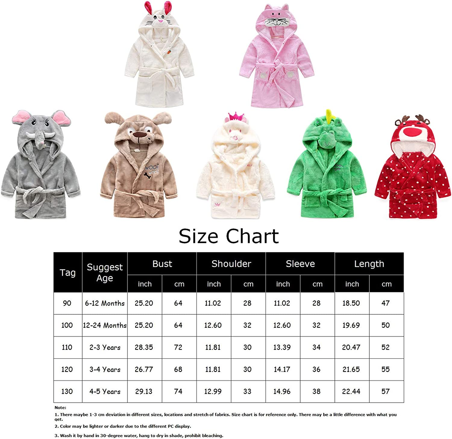 Baby Boys Robe Animal Coral Fleece Bathrobe Unisex Kids Hooded Sleepwear Pjs