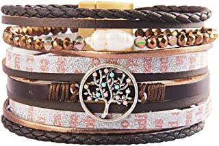 Jenia Tree of Life Leather Cuff Bracelet Handmade...