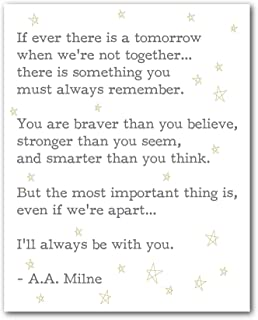 A.A Milne Quote Print, If Ever There Is A Tomorrow When We're Not Together, Book Art, 8 x 10 Inches, Unframed