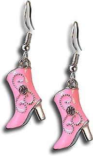 Enamel Dangle Western Rhinestone Cowboy Boot Earrings by Pashal