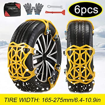 soyond Snow Chains Car Anti Slip Snow Tire Chains Adjustable Anti-Skid Chains Car Tire Snow Chains for Car/SUV/Trucks (Set of 6 Width 165-275mm/6.4-10.9''): image