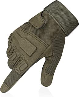 Flexzion Full Finger Tactical Gloves -OD Green (L) Anti-Skid Protective Gear w/ Knuckle Paddings for Motorcycle Airsoft Military Combat Army Training Outdoor