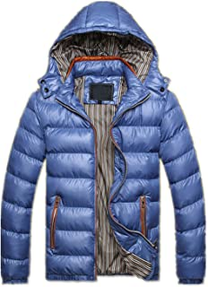 Men Winter Jacket Fashion Hooded Thermal Down Cotton Parkas Male Casual Hoodies Clo,Blue,XXL