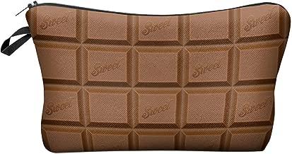 PREMYO Neceser de Maquillaje Estuche Escolar Pochette para Cosméticos Bolsa de Aseo Pequeña Práctico Estampado Impresión Diseño Chocolate