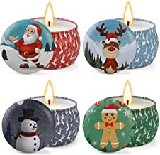 YINUO LIGHT Christmas Scented Candles Gifts Set for Women Aromatherapy Candles Stress Relief, Upgraded Large Tin of Soy Candle Scented Lavender Candle, Gifts for Women Birthday Gifts (Christmas Decor)