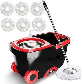 HPRM Serpillère avec seau, essoreur sur roues, serpillère rotative et seau Système de nettoyage du sol, fournitures de mén...