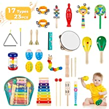 Obuby Kids Musical Instruments Sets 17 Types 23 pcs Percussion Instruments for Toddler Preschool Educational Wooden Toys w...