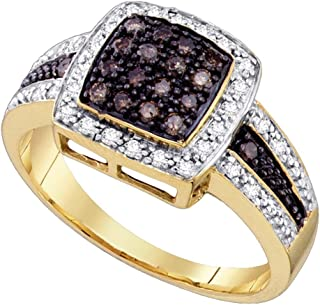 10k Yellow Gold Round Chocolate Brown Diamond Square Cluster Ring (1/2 Cttw)