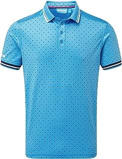 Bunker Mentality Mens Blue Golf Polo Shirt - Spot Design Short Sleeve, Sports Polo Shirt, Moisture Wicking, SPF 50+