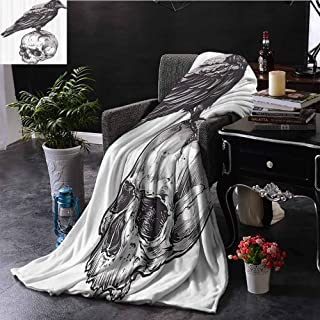 Luoiaax Scary Children's Blanket Scary Movies Theme Crow Bird Sitting on a Human Old Skull Sketchy Image Lightweight Soft Warm and Comfortable W55 x L55 Inch Charcoal Grey White