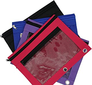 4 Pack Binder Pencil Pouch with Zipper Pulls, Pencil Case with Rivet Enforced 3 Ring, Double Pockets Pencil Case with Clear and Mesh Window