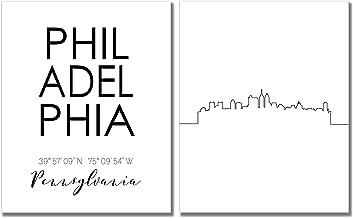 N&T Philadelphia Skyline Wall Décor Prints - Set of 2 (8x10) Art Photos - Typography Minimalist Poster