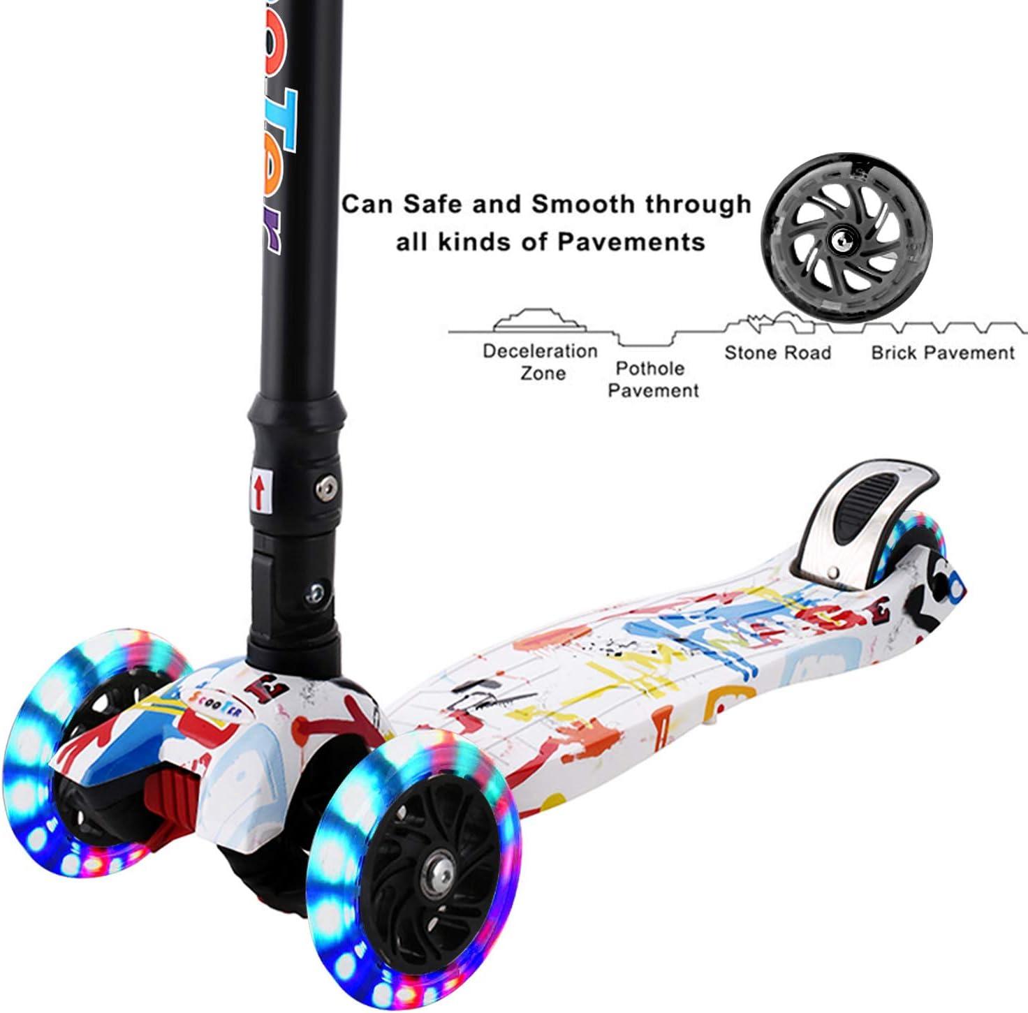 con Manubrio anodizzato Regolabile in Altezza e Ruote LED Lampeggianti carico Fino a 50 kg Pieghevole Hikole Monopattino per Principianti a 3 Ruote per Bambini da 3 a 12 Anni