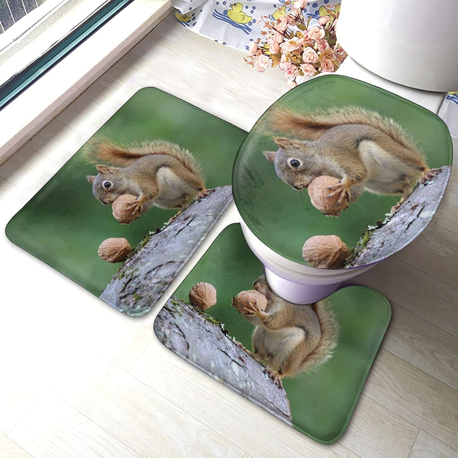 POMDJND excellence Squirrel with an Acorn Bath Quantity limited Mat Anti-Skid Set Absor 3pcs