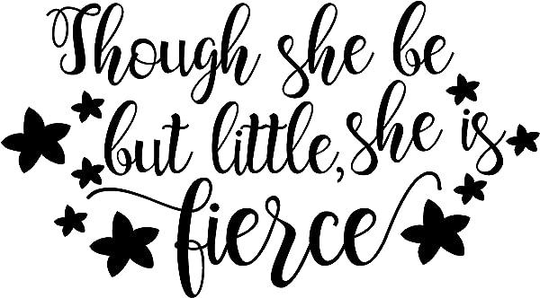 我的乙烯基故事虽然她很小,但她是凶猛的女孩幼儿园装饰墙壁贴花报价可拆卸乙烯基艺术装饰儿童贴纸男孩女孩卧室礼物 25x14 英寸