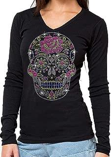 Sugar Skull Rhinestone Long Sleeves V Neck T-Shirt Black S-3XL Juniors