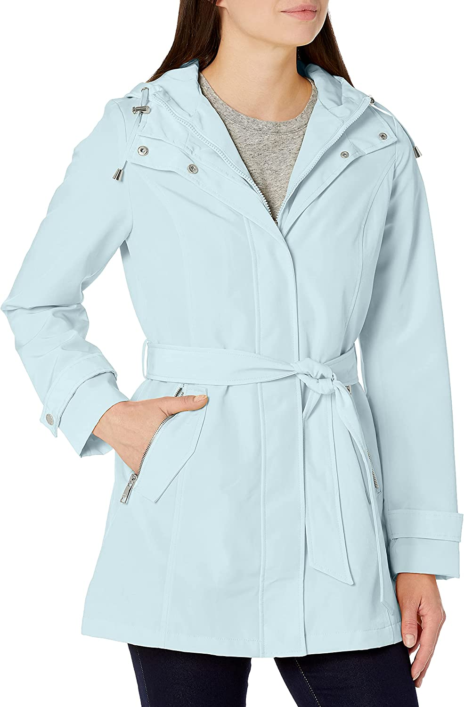 Nautica Women's Hooded Raincoat with Belt Jacket