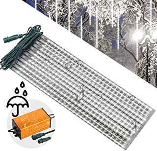 LEDJump Bright Falling Rain Drop 20 Inches/50cm 650 Lights Snowfall 16FT Wire Extension Waterproof Transformer LED Lights Outdoor Double Sided, Set of 12 Meteor Shower Drop (Snow White), UL Certified