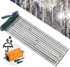 LEDJump 20 Inches/50cm 720 Lights Snowfall Meteor Shower 16FT Wire Extension Waterproof Transformer LED Lights Outdoor Double Sided, Set of 12 Meteor Shower Rain Drop Tree (Snow White), UL Certified