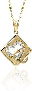 Collana in oro - 14K - Pendente in oro giallo e zirconi, cuore su rombo. Lunghezza catena 50 cm. Peso gr 3.3