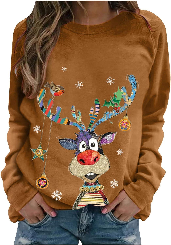 Hotkey Christmas Sweatshirt for List price OFFer Women O-Neck Top Long Blo Sleeve