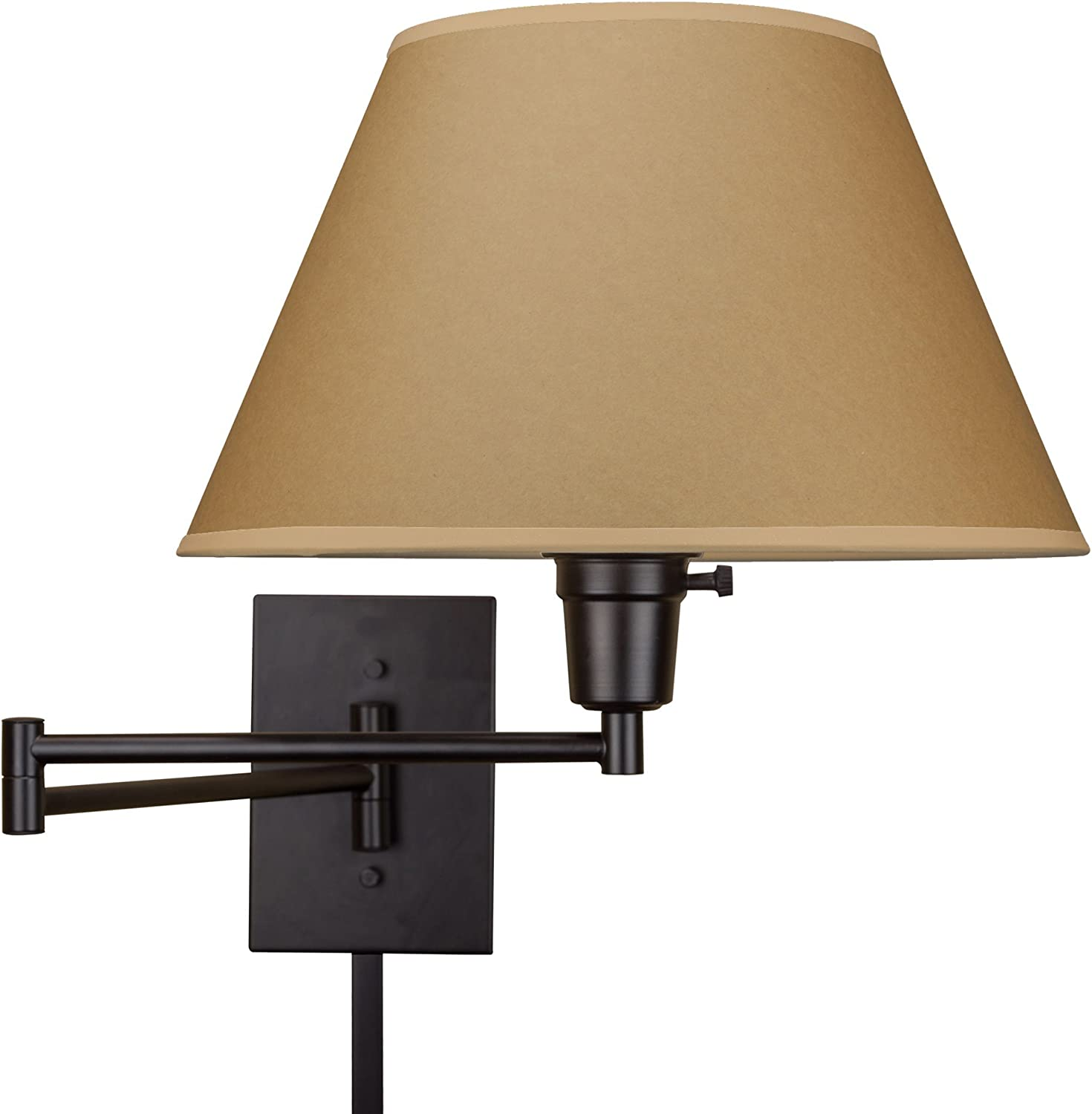 Kira Home Cambridge 13  Swing Arm Wall Lamp - Plug in Wall Mount, Opaque Paper Shade, 150W 3-Way + Cord Covers, Black Finish