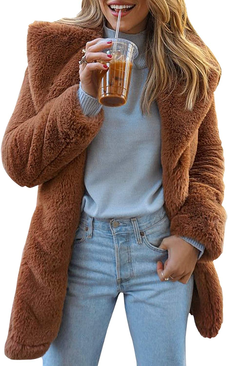 BerryGo Women's Shaggy Faux Fur Coat Long Sleeve Thick Jacket Outwear with Pocket